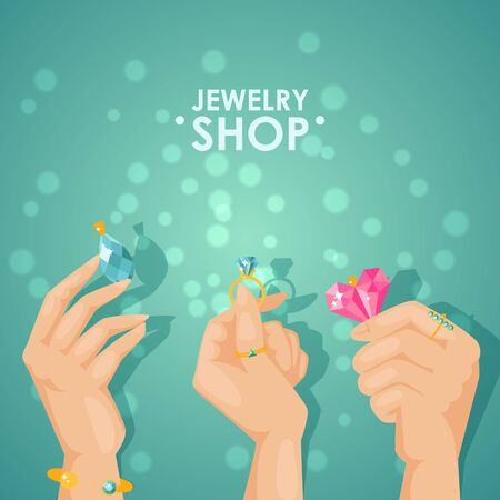 Jewelry shop poster, vector illustration. Hands holding jewels with sparkling gems and diamonds, beauty fashion accessories with precious gemstones. Rings, earrings and pendants