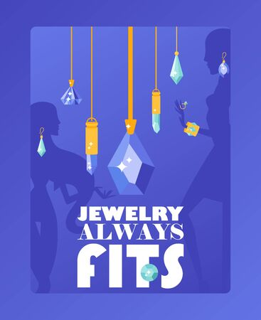 Jewelry store typographic poster, vector illustration. Sparkling gems and diamonds, jewels with precious gemstones. Flat style jewellery pendant collection, fashion accessories