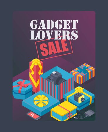 Gadget lovers sale poster, vector illustration. Expensive gifts in decorative boxes, birthday present package. Digital accessories store special offer, advertisement flyer