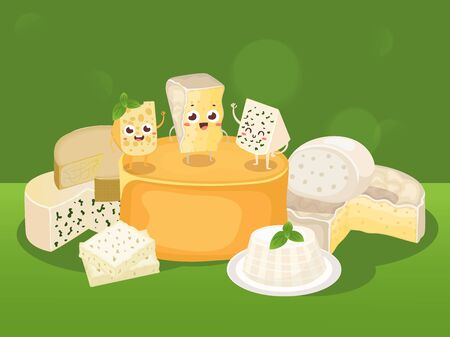Cheese vector illustration. Various kinds of different cheese, tasty natural dairy products, delicious blue cheese. Organic food store poster, brochure or booklet cover Фото со стока - 134147431