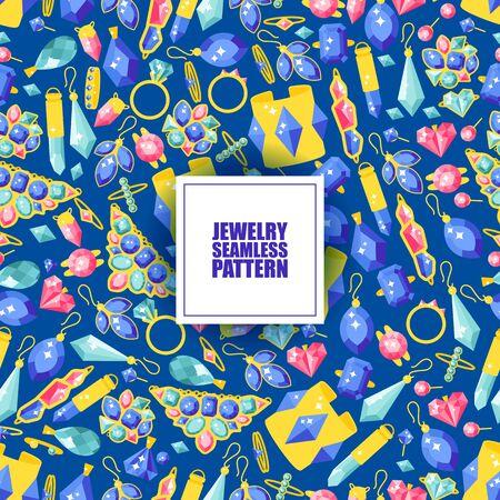Schmuck nahtlose Muster, Vektor-Illustration. Funkelnde Diamanten und Juwelen mit kostbaren Edelsteinen. Goldene Schmuckikonen, Hintergrund im flachen Stil. Beauty-Mode-Accessoires