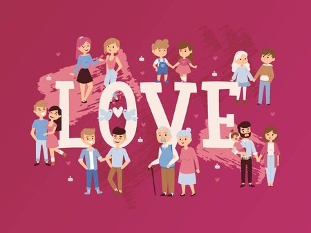 Romantic couples in love, vector illustration. Typography poster, book cover with people of different ages and genders in happy relationships. Cartoon characters holding hands Illustration