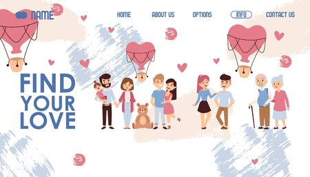 Dating website design, vector illustration. Find your love, landing page template with romantic couple cartoon characters. Search for partner, boyfriend or girlfriend online. From first date to family