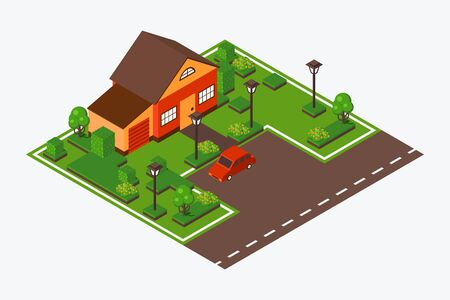 Isometric house with lawn and car, vector illustration. Game design tile of suburb home near road. Town house in perspective from above, modern residential neighborhood. Isometric map building project
