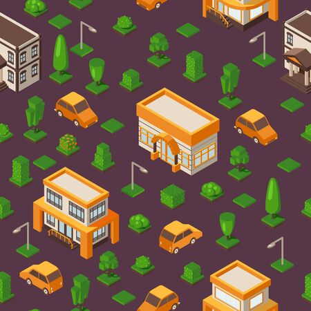 Isometric seamless pattern, vector illustration. Set of buildings and cars in geometric perspective. Isometric background for game or map. Town street with houses, vehicles, trees and streetlights