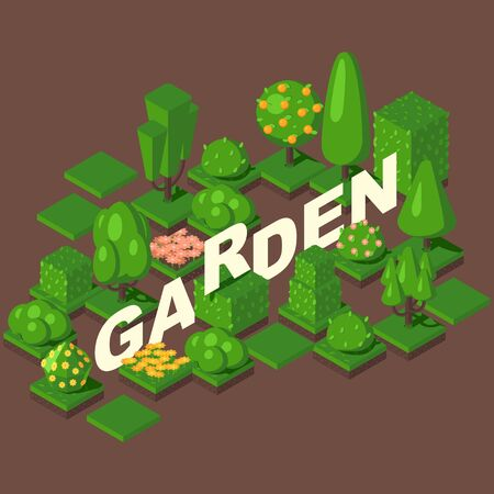 Isometric garden set, vector illustration. Green trees, bushes and flowerbeds for game or map. Title letters in geometric perspective, gardening store brochure cover