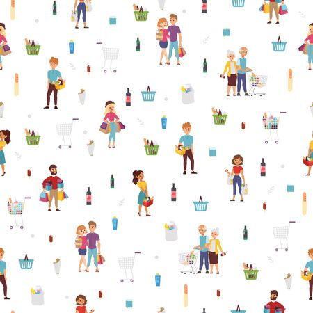 Shopping people seamless pattern, vector illustration. Cartoon characters in flat style, set of isolated icons. Customers in food shop, happy buyers with bags in shopping mall Vetores