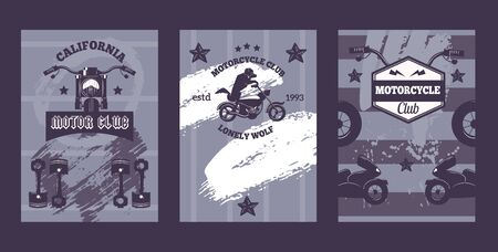 Bikers club banners with motorcycle silhouette, vector illustration. Grunge retro style poster with icons and brush strokes. Bike riders festival invitation, motorcycle band