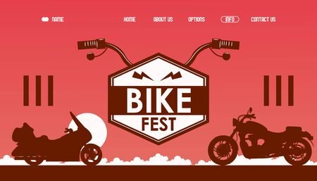 Bike fest website design, vector illustration. Landing page template for motorcycle riders festival, bikers band party, subculture club. Motorcycle silhouette Ilustração