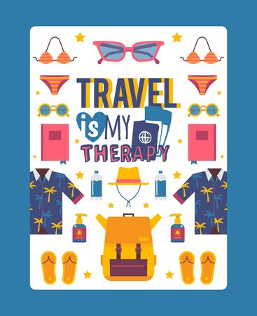 Travel inspiration poster, vector illustration. Summer vacation sea trip, clothes and accessories, swimming suit, sunglasses and backpack. Simple vacation icons