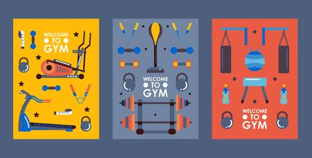 Set of gym banners in flat style, vector illustration. Fitness studio equipment icons, sport club invitation, welcome to gym. Poster with workout accessories 向量圖像