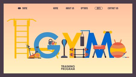 Gym website design, vector illustration. Typographic composition of letters and training equipment. Landing page template in flat style, workout accessories, training center