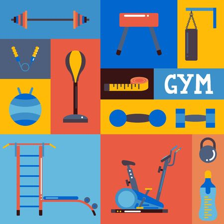 Collage of gym icons, vector illustration. Set of colorful stickers with training equipment in flat style. Workout accessories, sport center, fitness studio