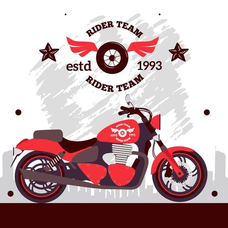 Motorcycle rider team poster, vector illustration. Bike on street with urban city background and wheel label, decorated with grunge brush stroke. Motorcycle store Ilustração