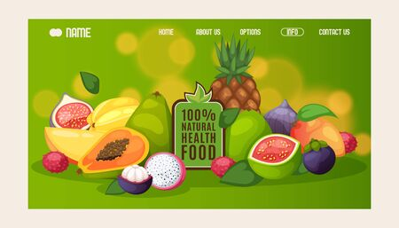 Natural healthy food website design, vector illustration. Landing page template, organic products, exotic tropical fruits. Fresh mango, papaya, guava, pineapple and mangosteen