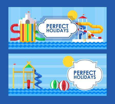 Water park banner in flat style, vector illustration. Perfect summer holidays in aqua park, fun vacation for family with children. Water attractions ticket template