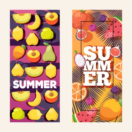 Summer fruit vertical banners, vector illustration. Mix of fresh juicy fruits, healthy vegetarian food. Summer advertisement campaign, flyer with colorful background for your text Иллюстрация