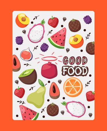 Fruit poster with isolated icons vector illustration. Booklet cover, organic product package label. Fresh juicy tropical fruits, slices of watermelon, orange, fig, peach and pitaya Фото со стока - 137951581