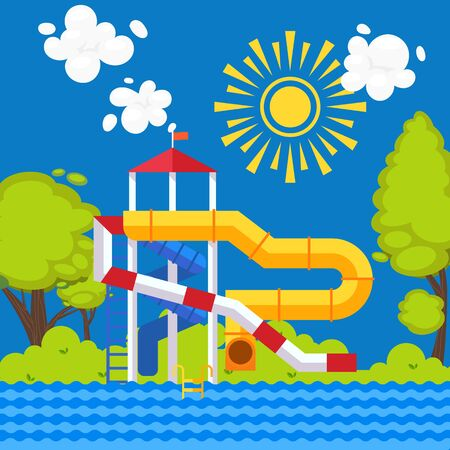 Water park vector illustration. Colorful poster in flat style, outdoor summer playground for family with children. Aqua park attractions, water slides for kids  イラスト・ベクター素材