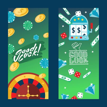 Casino gambling vertical banners, vector illustration. Advertisement flyer template with text good luck. Roulette, chips, dice, money and tokens to play game in casino Фото со стока - 137951807