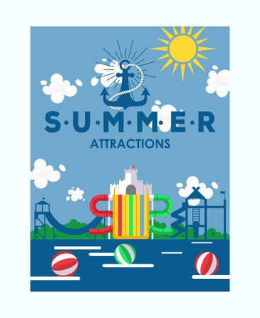 Summer attractions water park poster, vector illustration. Invitation to aqua park, outdoor summer activity for family with kids. Advertisement flyer for playground