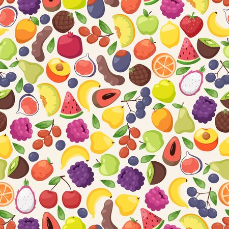 Colorful fruits in seamless pattern, vector illustration. Wrapping paper design, healthy food product packaging. Fresh organic fruits, juicy slices of watermelon, melon Фото со стока - 138097109