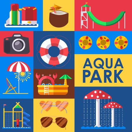 Aqua park set of stickers, vector illustration. Colorful collage with icons in flat style, water park attractions. Fun activity in aqua park for family with children