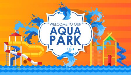 Aqua park vector illustration. Typographic poster template, water park advertisement flyer. Invitation to aqua park, summer activity for family with children
