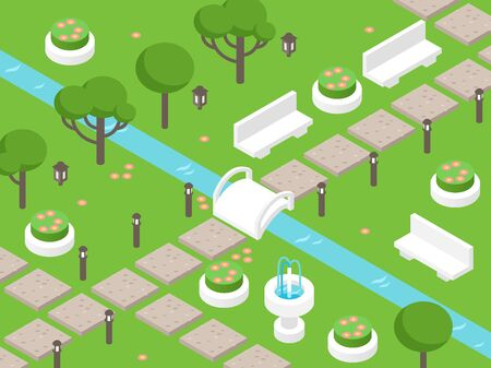 Isometric park scene, vector illustration. Garden elements for game or map, perspective view from above. Beautiful landscape park with green lawns, trees, benches