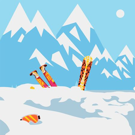 Snowboarder fell in snow, mountain avalanche, extreme winter sport, vector illustration Ilustracja