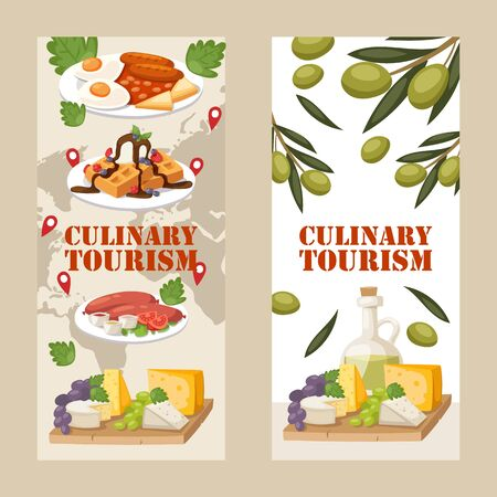 Culinary tourism vertical banners, vector illustration. Travel food experience, taste traditional dishes of different cuisine. Advertisement of culinary tour around the world, European food culture