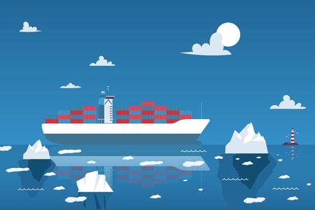 Cargo ship transporting containers in the Arctic Ocean, vector illustration