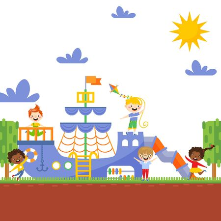 Children playing on playground, vector illustration. Happy active kids running and laughing outdoors. Boys and girls carton characters, playground ship in summer park. Fun game attraction background