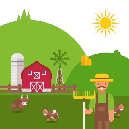 Farmland landscape in flat style, vector illustration. Friendly farmer cartoon character, green summer hills, grazing kettle. Peaceful countryside house, traditional farmstead barn, sunny day outdoor