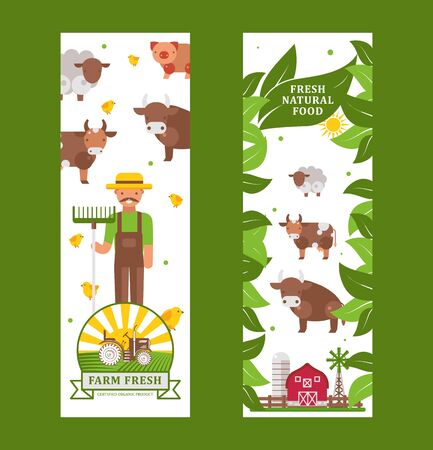 Farm products vertical banner, vector illustration. Fresh natural organic food from local farmers. Healthy products banner template, farm kettle animals in flat style, green leaves and tractor emblem