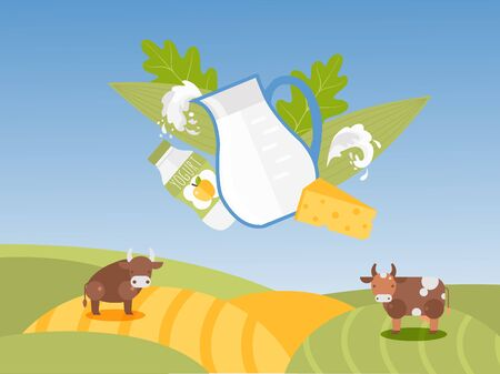 Jug of milk and dairy products on background of farm fields landscape, vector illustration. Natural organic food from local farmers, fresh milk, yogurt and cheese. Flat style cow and bull on farmstead