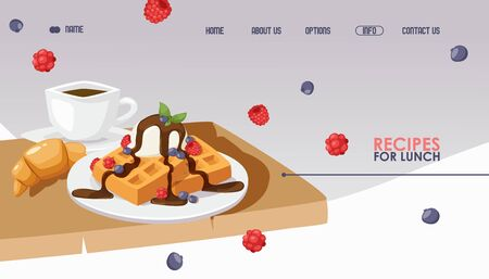 Waffles and coffee for breakfast, cafe website design, vector illustration. Landing page template for restaurant or food recipes web site. Continental european breakfast Banque d'images - 138087071