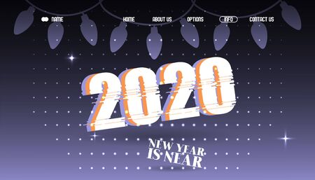 2020 new year typographic background website vector illustration. Landing page template, winter holidays celebration, new year party invitation. Digital glitch effect, modern style wallpaper