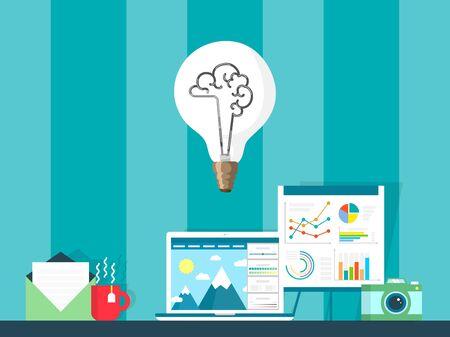Creative idea concept vector illustration. Content creator workspace setup in flat style, light bulb as symbol of inspirational idea. Freelance photographer workplace