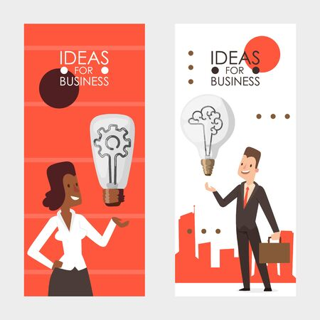 Ideas for business, vector illustration. Vertical banners set, man and woman holding light bulb as symbol of idea. Business people cartoon character in flat style