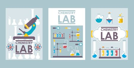Chemistry lab banners, vector illustration. Scientific brochure cover design, laboratory booklet template. Flat style chemistry lab icons, science research symbols