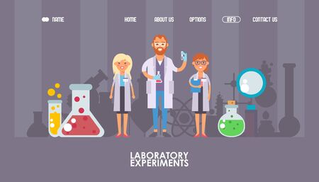 Man and woman scientists cartoon characters, vector illustration. Laboratory website design, landing page template. Scientific research, chemical lab test, flat style background