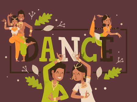 Dance typographic poster, vector illustration. Traditional Indian dancing, smiling people in national costume, happy dancer cartoon character, Indian man and woman