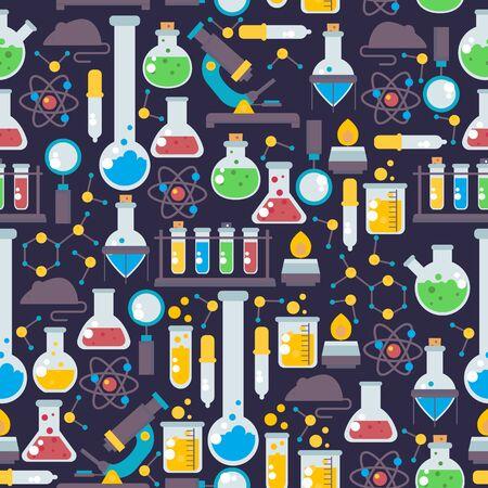 Laborglas nahtlose Muster, Vektor-Illustration. Chemielaborforschungsikonen im flachen Stil, chemische Flaschenembleme. Wissenschaftslaborartikel, Pharmazie und Medizinstudium Vektorgrafik