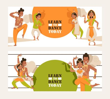 Indian dancing school invitation banner, vector illustration. Advertisement flyer template, ethnic dancers in traditional costumes if India. Motivational text learn to dance today