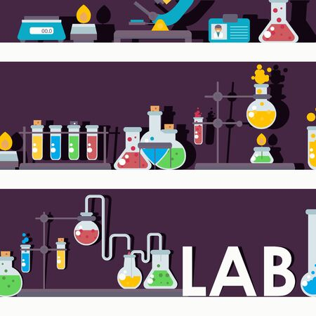 Laboratory glassware on shelves, vector illustration. Chemistry lab research symbols in flat style, chemical flask emblems. Science lab items, pharmacy and medicine studying Ilustração