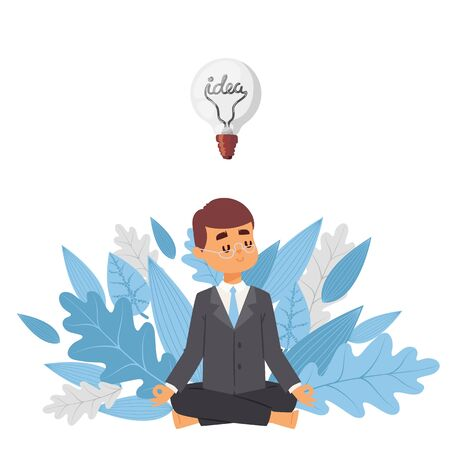 Meditating businessman with idea, vector illustration. Cartoon character man in suit on background of tree leaves. Mindful, calm, smiling visionary, business idea