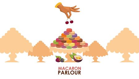 Macaron parlour vector illustration. Pastry shop advertisement poster, french macaron sweet confection, tasty dessert. Luxury presentation, confectionery showcase