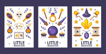 Set of banners with magic game icons, vector illustration. Flat style cartoon items, symbols of witchcraft and sorcery. Magical amulets and potions, fantasy artifacts