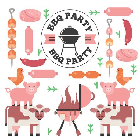 BBQ icons in flat style, vector illustration. Isolated emblems of meat and sausages, beef, pork, chicken. Barbecue party invitation, grill cookout event announcement